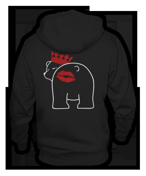 Berliner Bär Knutscher Kuss Mund auf Arsch Backe Hintern Hoodie Jacke