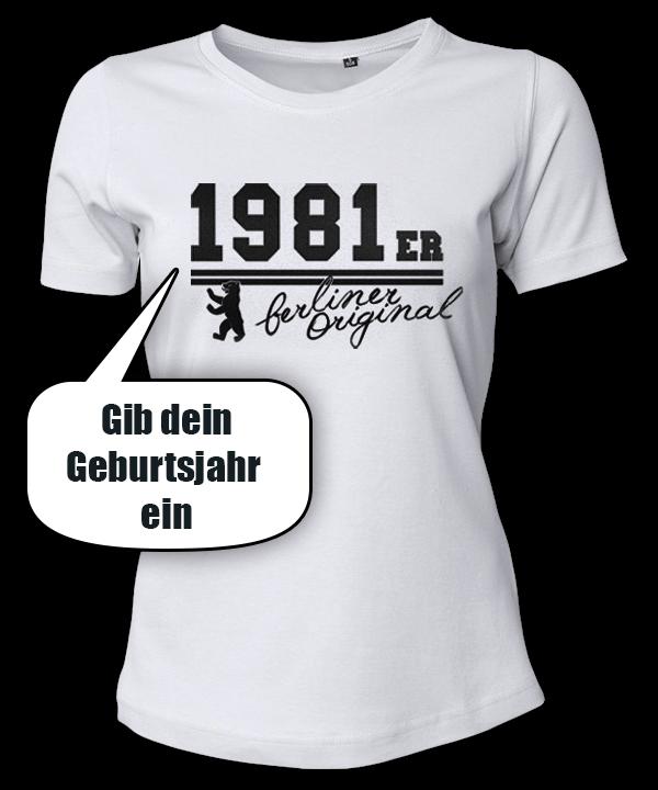 Frauen-Shirt Geburtsjahr Berliner Original weiß