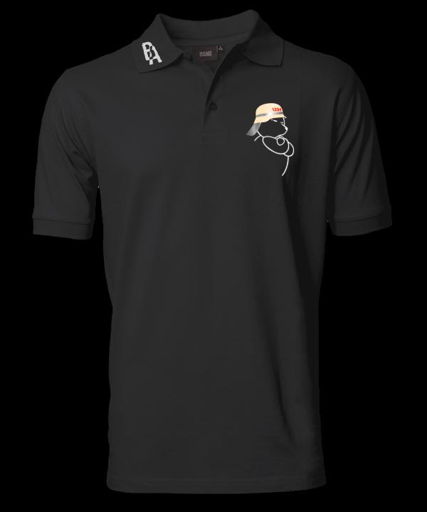 Poloshirt schwarz Feuerwehr Bär
